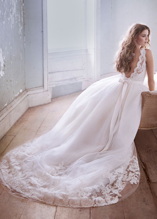 Jim Hjelm by Hayley Paige tulle and lace ballgown