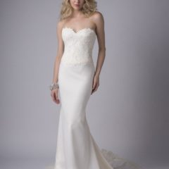 Modern Trousseau bridal Liana crepe & lace gown