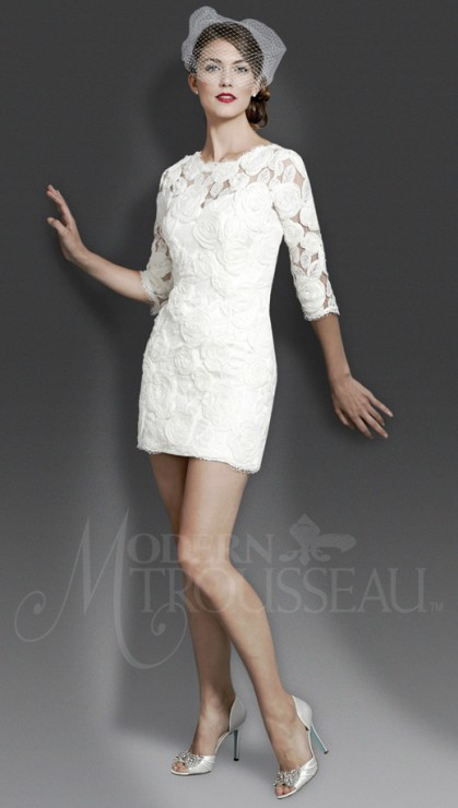 This vintage looking re-embroidered lace minidress with three quarter sleeves and bateau neckline is perfect for the rehearsal dinner, reception, or the big day. Available in beach over ivory, or ivory over ivory