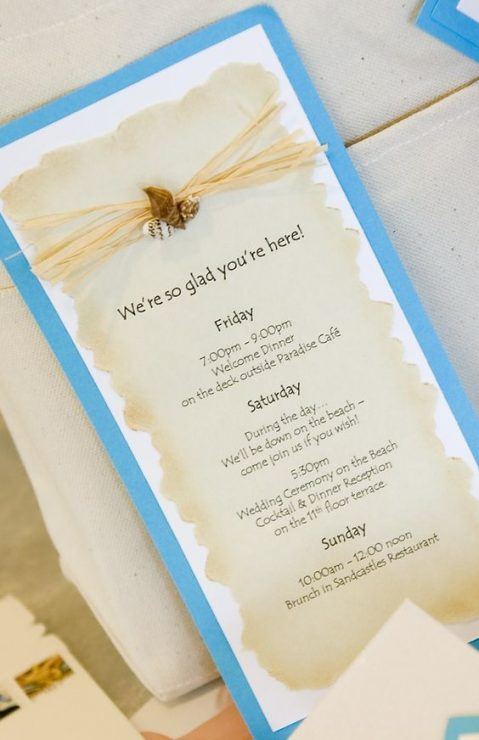Timeline brochure for guests-a great idea!