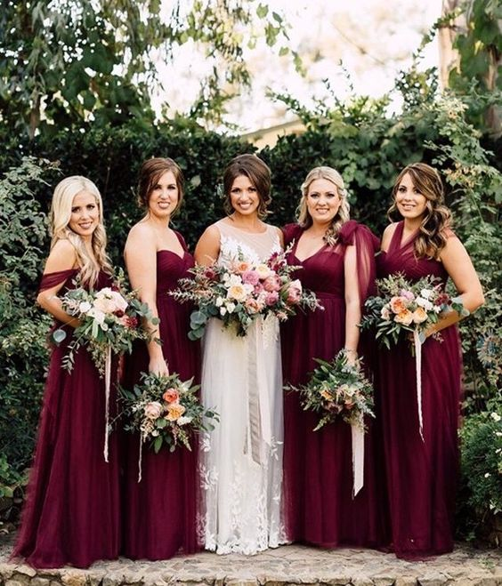 Image result for cabernet bridesmaid dresses