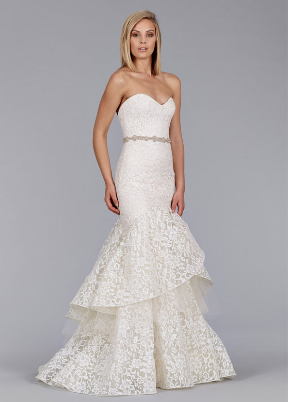 Jim Hjelm Bridal Lace Fit Flare Gown Strapless Sweetheart Natural Waist Belt Tiered Skirt Chapel Train 8456 Zm